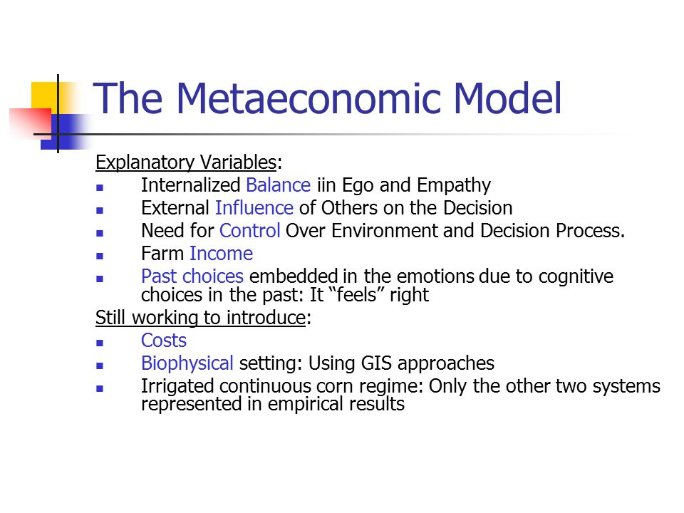The Metaeconomic Model Explanatory Variables: Internalized Balance iin Ego and Empathy External Influence of Others on the Decision Need for Control Over Environment and Decision Process.