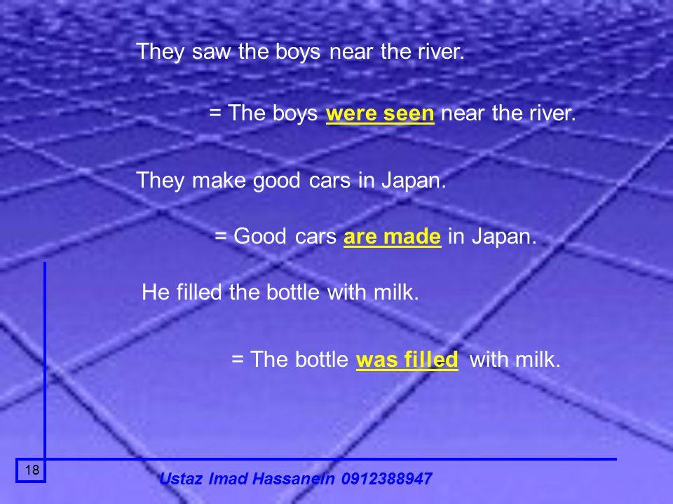 Ustaz Imad Hassanein 0912388947 18 They saw the boys near the river.