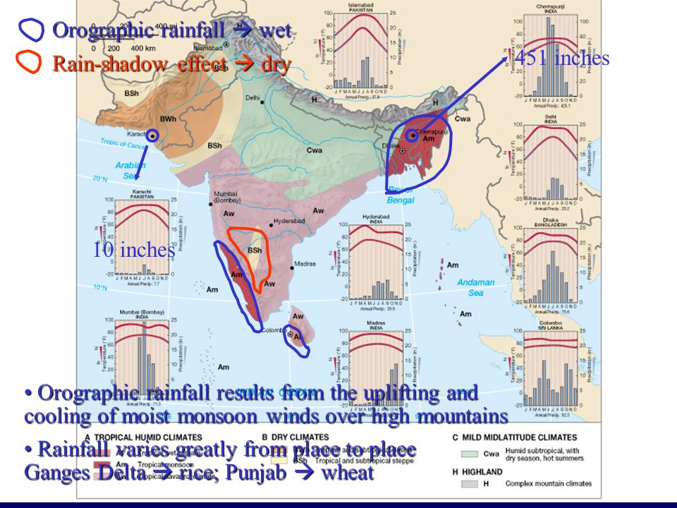 Orographic rainfall  wet Rain-shadow effect  dry Orographic rainfall results from the uplifting and cooling of moist monsoon winds over high mountains Orographic rainfall results from the uplifting and cooling of moist monsoon winds over high mountains 451 inches 10 inches Rainfall varies greatly from place to place Ganges Delta  rice; Punjab  wheat Rainfall varies greatly from place to place Ganges Delta  rice; Punjab  wheat
