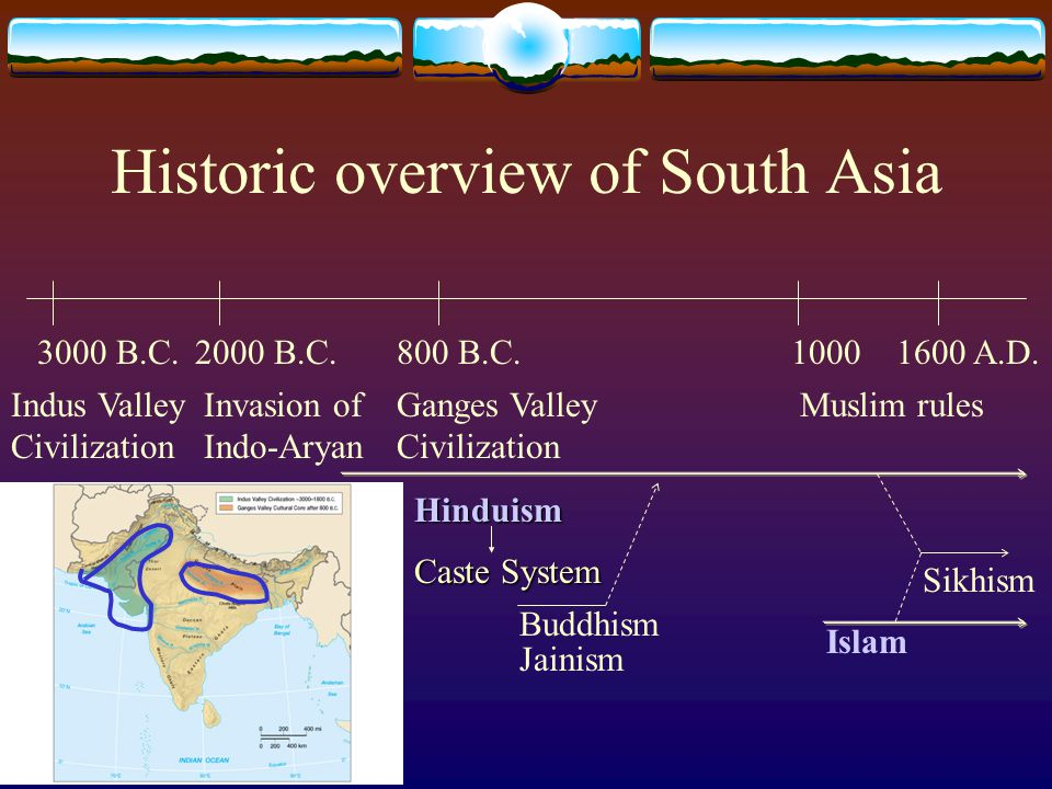 Historic overview of South Asia 3000 B.C.800 B.C. Indus Valley Civilization Ganges Valley Civilization 1000 Muslim rules Buddhism Islam Invasion of In