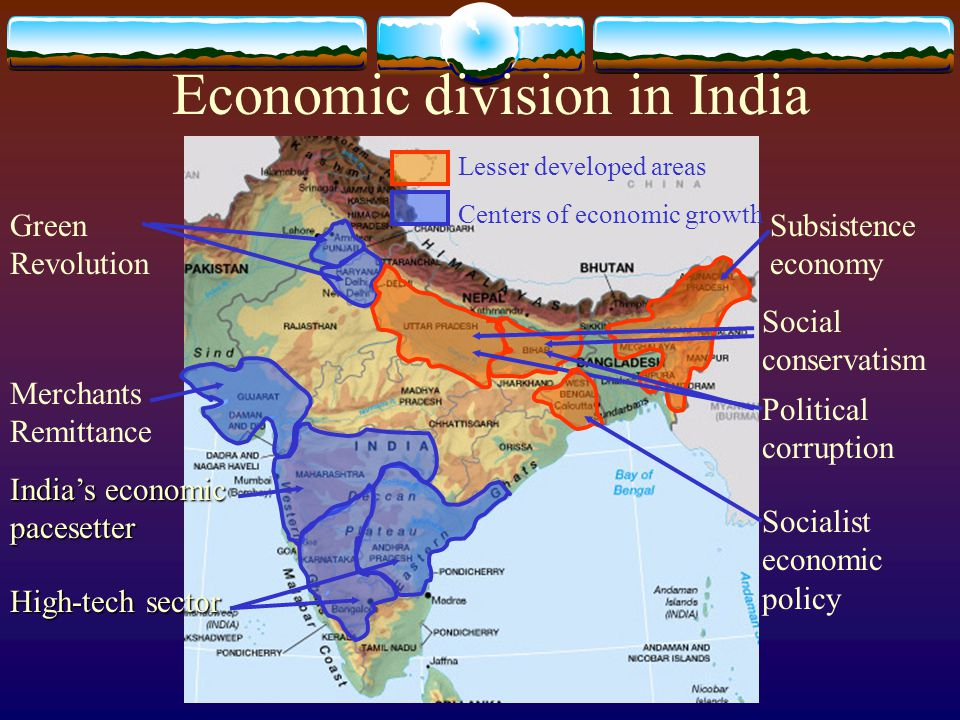 Economic division in India Lesser developed areas Centers of economic growth Green Revolution Merchants Remittance India's economic pacesetter High-te