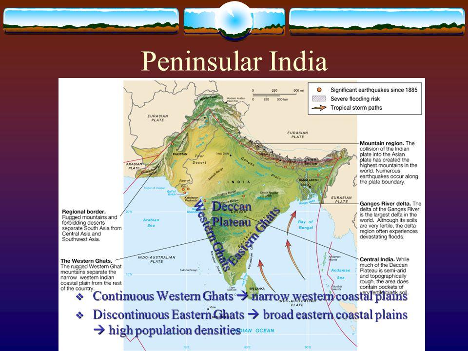 Peninsular India Deccan Plateau Western Ghats Eastern Ghats  Continuous Western Ghats  narrow western coastal plains  Discontinuous Eastern Ghats  broad eastern coastal plains  high population densities