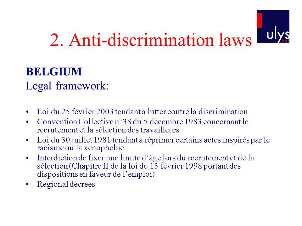 2. Anti-discrimination laws BELGIUM Legal framework: Loi du 25 février 2003 tendant à lutter contre la discrimination Convention Collective n°38 du 5