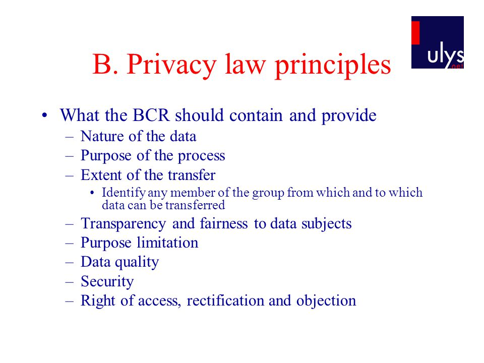 B. Privacy law principles What the BCR should contain and provide –Nature of the data –Purpose of the process –Extent of the transfer Identify any mem