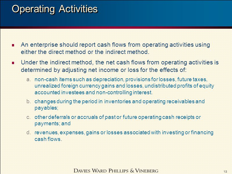 12 Operating Activities n An enterprise should report cash flows from operating activities using either the direct method or the indirect method.