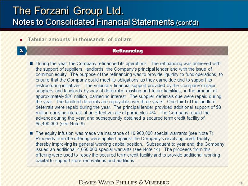 16 The Forzani Group Ltd.