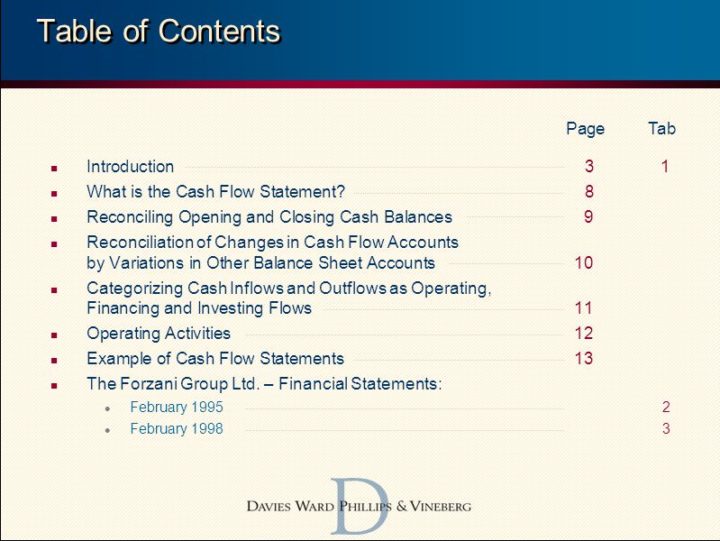2 n Introduction31 n What is the Cash Flow Statement.