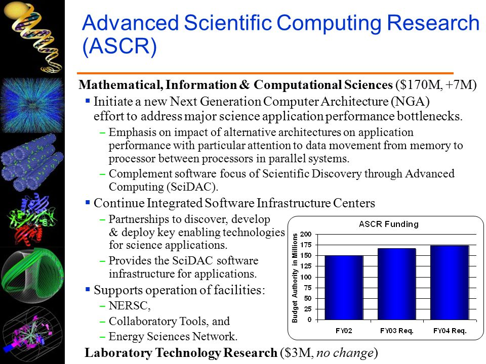 Advanced Scientific Computing Research (ASCR) Mathematical, Information & Computational Sciences ($170M, +7M)  Initiate a new Next Generation Computer Architecture (NGA) effort to address major science application performance bottlenecks.