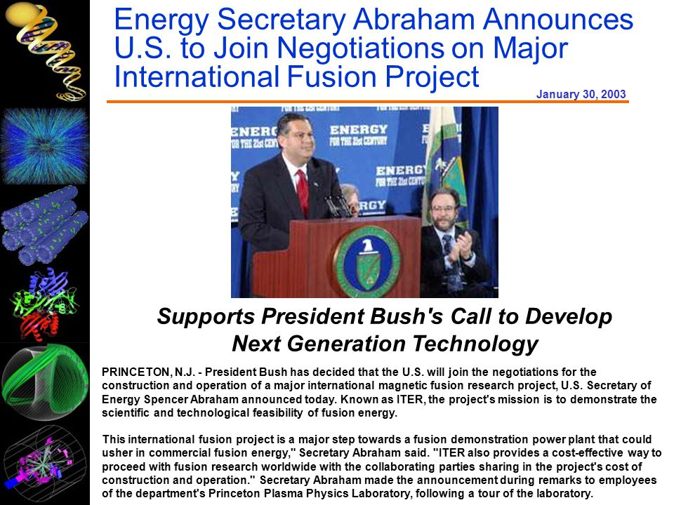 Energy Secretary Abraham Announces U.S.