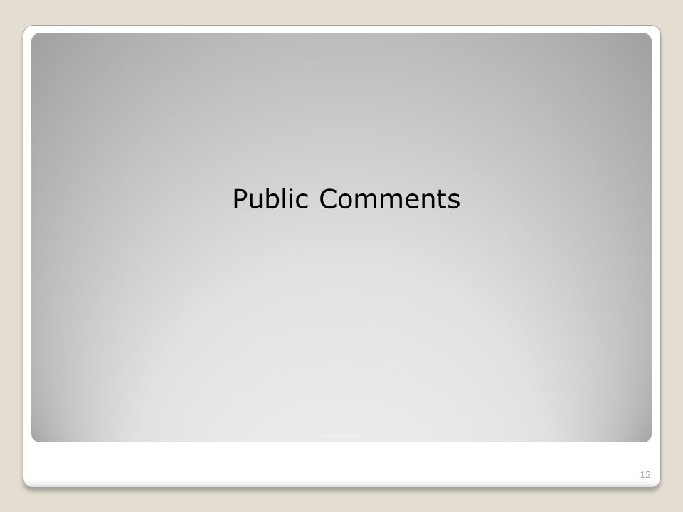 Public Comments 12