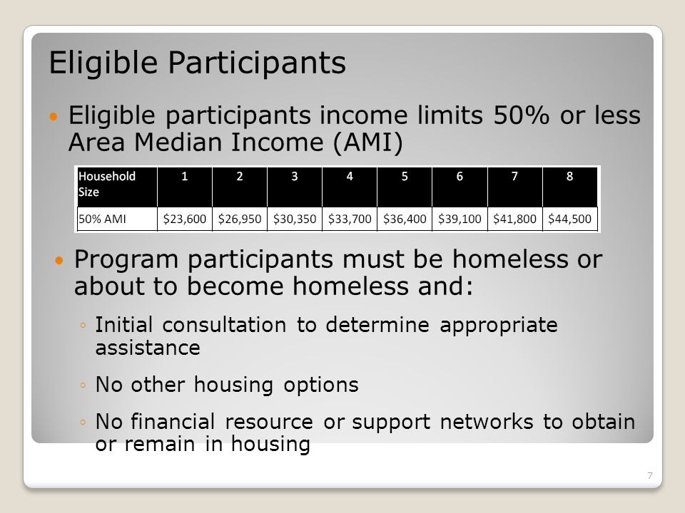 Eligible Participants Eligible participants income limits 50% or less Area Median Income (AMI) 7 Program participants must be homeless or about to become homeless and: ◦Initial consultation to determine appropriate assistance ◦No other housing options ◦No financial resource or support networks to obtain or remain in housing