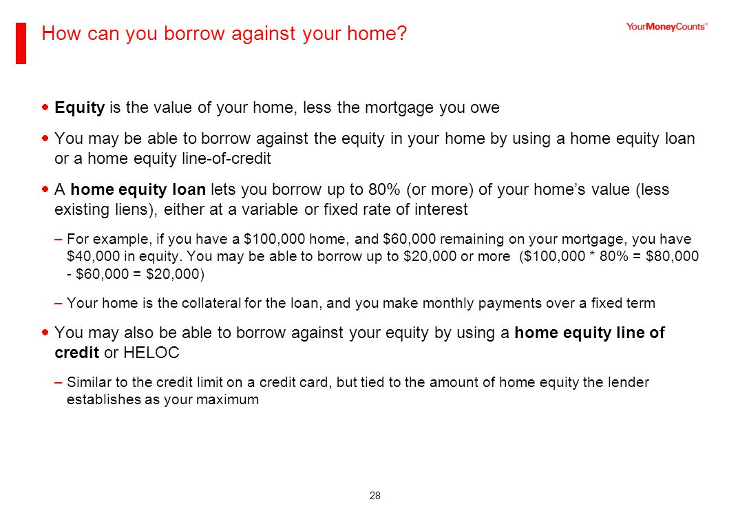 28 How can you borrow against your home.