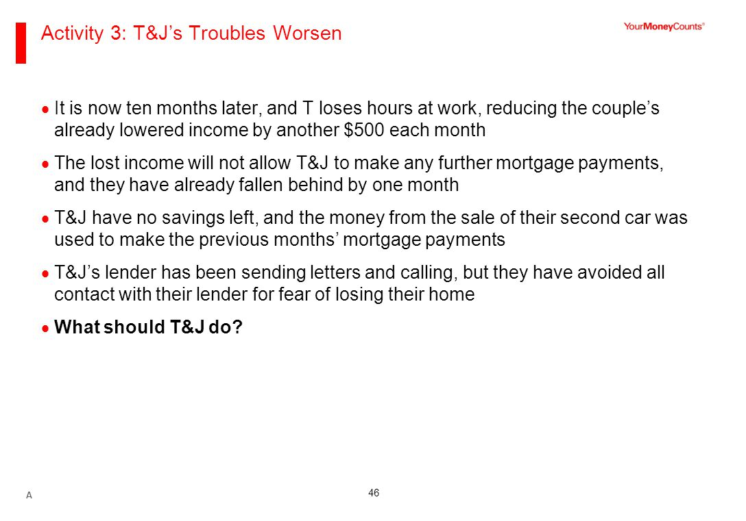 46 Activity 3: T&J's Troubles Worsen  It is now ten months later, and T loses hours at work, reducing the couple's already lowered income by another $500 each month  The lost income will not allow T&J to make any further mortgage payments, and they have already fallen behind by one month  T&J have no savings left, and the money from the sale of their second car was used to make the previous months' mortgage payments  T&J's lender has been sending letters and calling, but they have avoided all contact with their lender for fear of losing their home  What should T&J do.