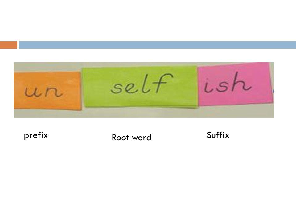 prefix Root word Suffix