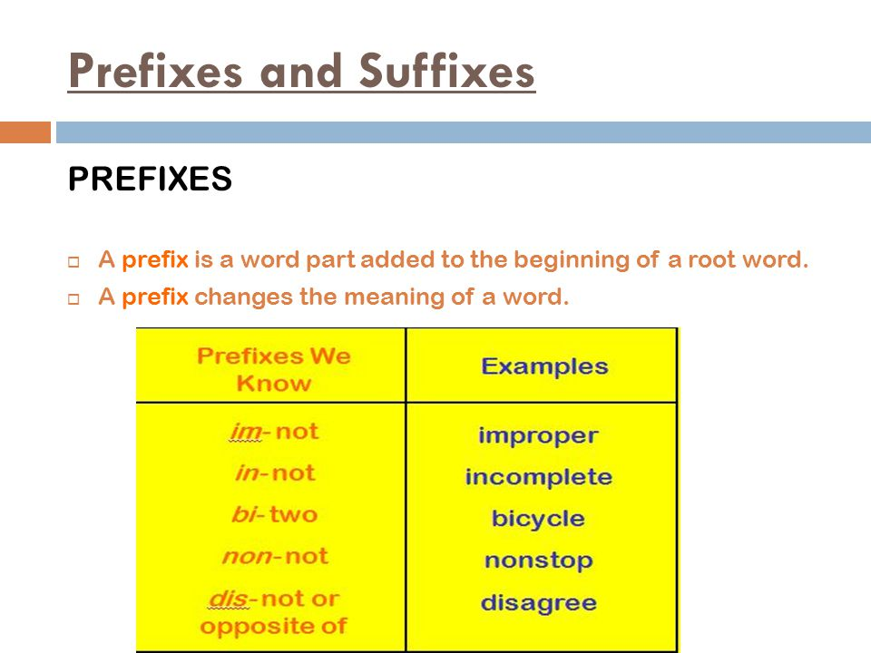 Prefixes and Suffixes PREFIXES  A prefix is a word part added to the beginning of a root word.