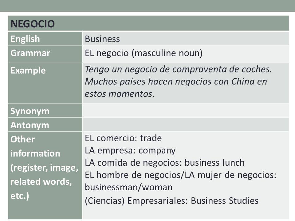 NEGOCIO EnglishBusiness GrammarEL negocio (masculine noun) Example Tengo un negocio de compraventa de coches.