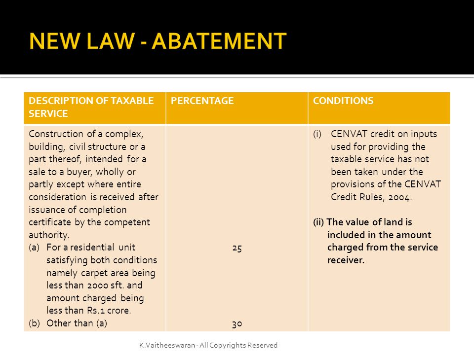  Joint Venture  Different models  Monetary share / share of constructed area  Is the contractor liable to pay service tax on construction done for the land owner.