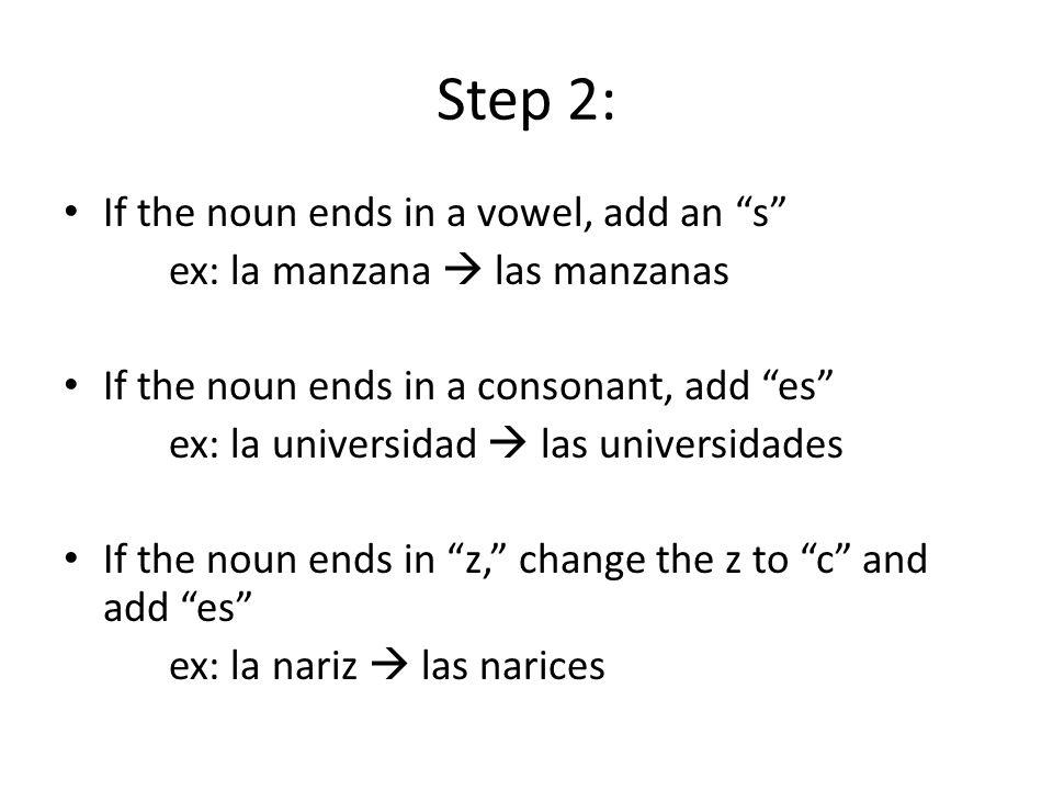Step 2: If the noun ends in a vowel, add an s ex: la manzana  las manzanas If the noun ends in a consonant, add es ex: la universidad  las universidades If the noun ends in z, change the z to c and add es ex: la nariz  las narices