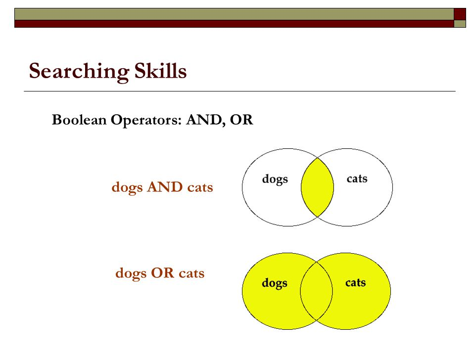 Searching Skills dogs AND cats dogs OR cats Boolean Operators: AND, OR