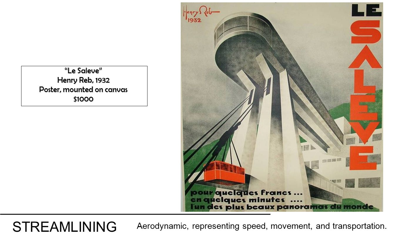 Le Saleve Henry Reb, 1932 Poster, mounted on canvas $1000 STREAMLINING Aerodynamic, representing speed, movement, and transportation.