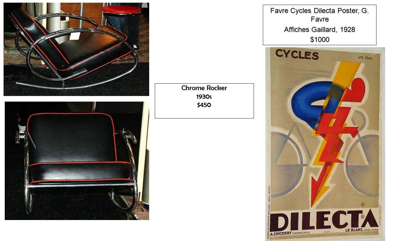 Chrome Rocker 1930s$450 Favre Cycles Dilecta Poster, G. Favre Affiches Gaillard, 1928 $1000
