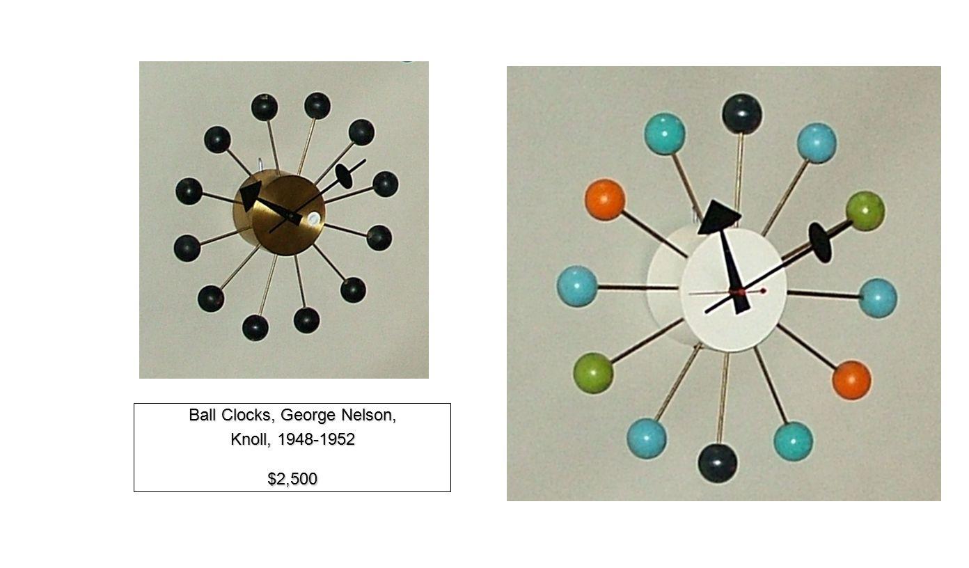 Ball Clocks, George Nelson, Knoll, 1948-1952 $2,500