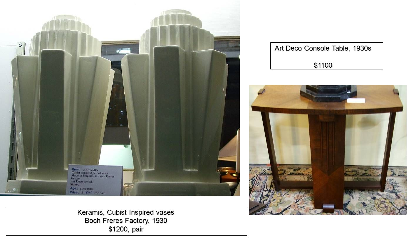 Art Deco Console Table, 1930s $1100 Keramis, Cubist Inspired vases Boch Freres Factory, 1930 $1200, pair