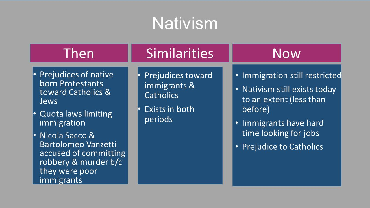 Nativism Immigration still restricted Nativism still exists today to an extent (less than before) Immigrants have hard time looking for jobs Prejudice