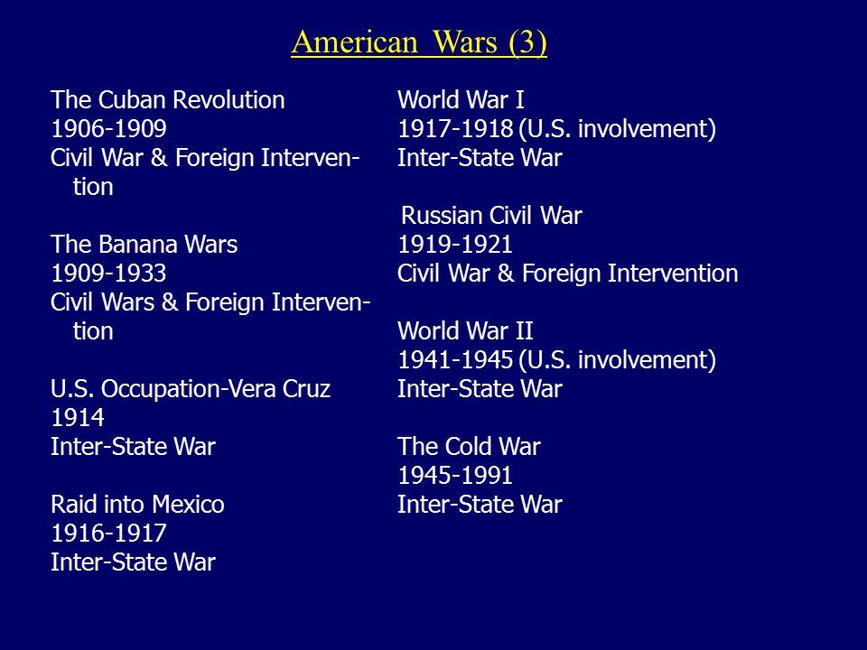 """American Wars (2) U.S. Slave RebellionsSamoan Civil War 1800-18651898-1899 Civil War & Foreign Intervention """"Bleeding Kansas"""" 1855-1860U.S. Philippine"""