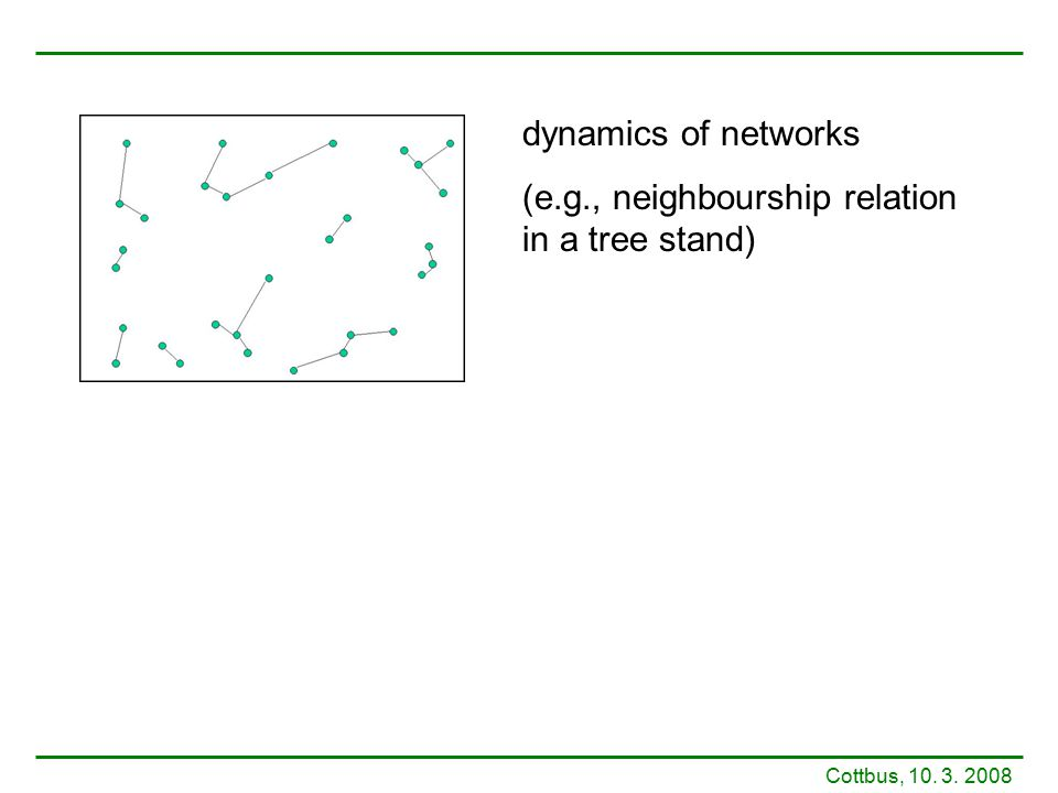 dynamics of networks (e.g., neighbourship relation in a tree stand)