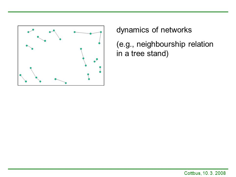 Cottbus, 10. 3. 2008 dynamics of networks (e.g., neighbourship relation in a tree stand)