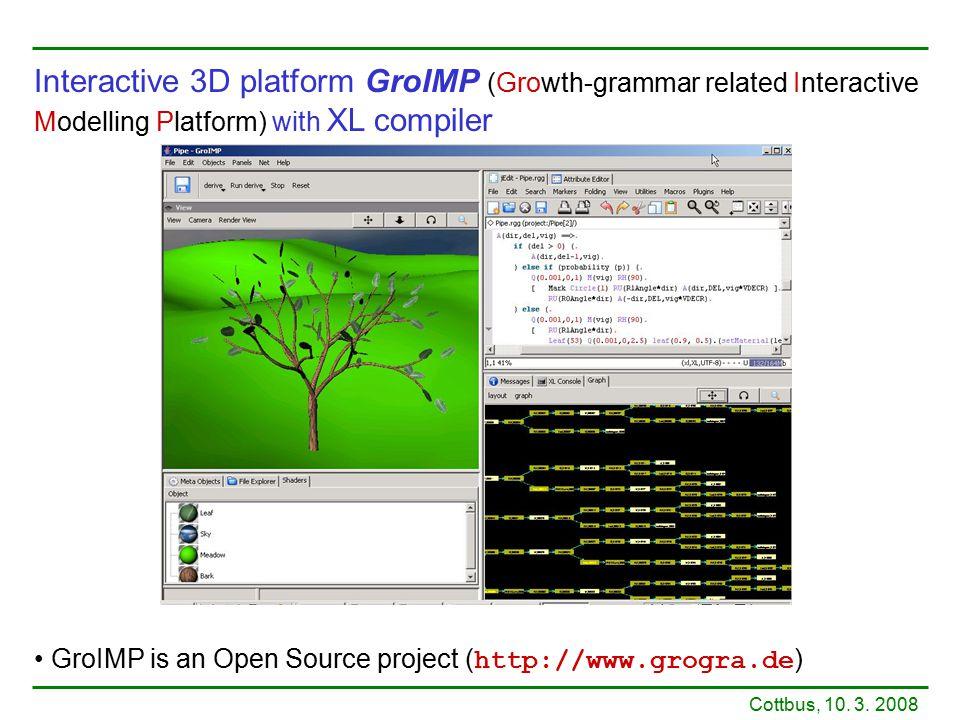 Interactive 3D platform GroIMP (Growth-grammar related Interactive Modelling Platform) with XL compiler GroIMP is an Open Source project ( http://www.grogra.de ) Cottbus, 10.