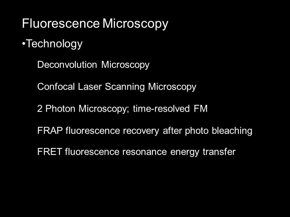 Fluorescence Microscopy Technology Deconvolution Microscopy Confocal Laser Scanning Microscopy 2 Photon Microscopy; time-resolved FM FRAP fluorescence recovery after photo bleaching FRET fluorescence resonance energy transfer