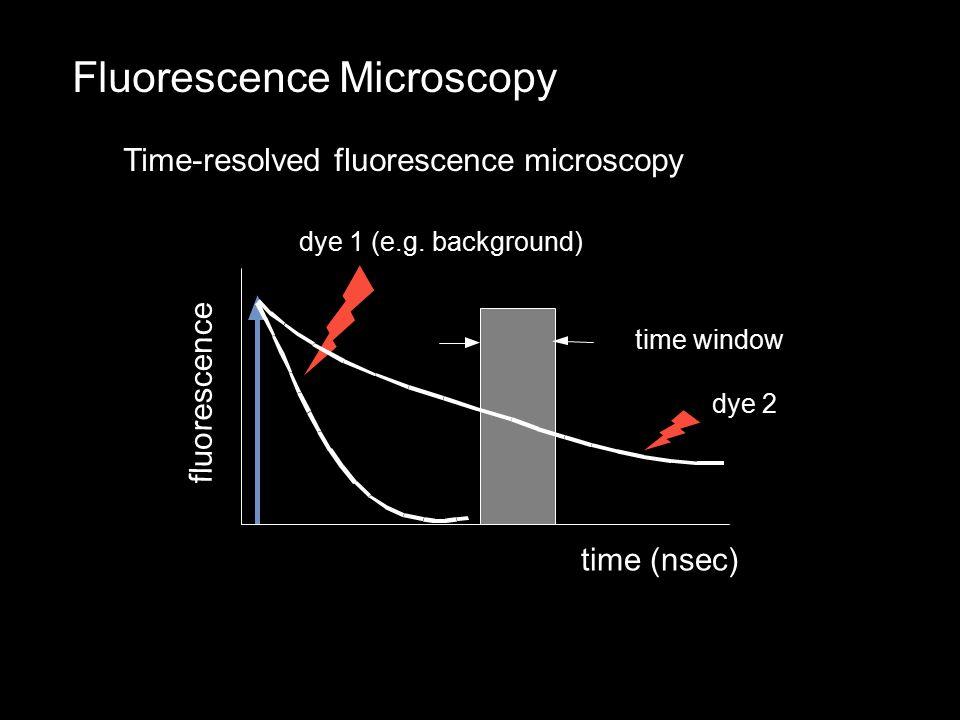 Fluorescence Microscopy Time-resolved fluorescence microscopy f l u o r e s c e n c e time (nsec) dye 1 (e.g.