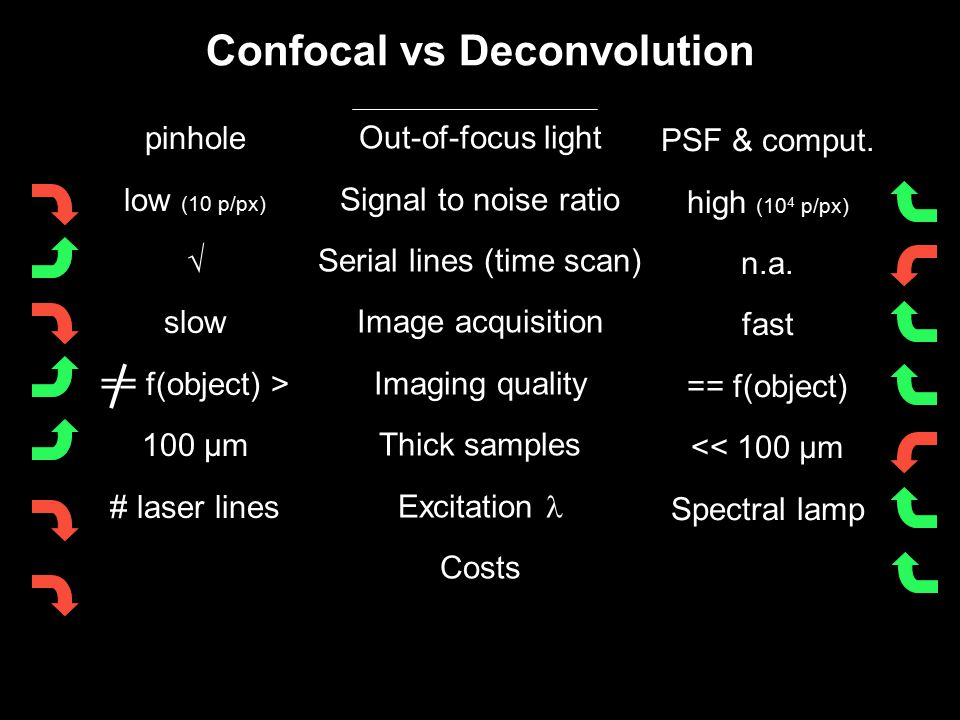 Confocal vs Deconvolution Out-of-focus light Signal to noise ratio Serial lines (time scan) Image acquisition Imaging quality Thick samples Excitation Costs pinhole low (10 p/px) √ slow == f(object) > 100 µm # laser lines PSF & comput.