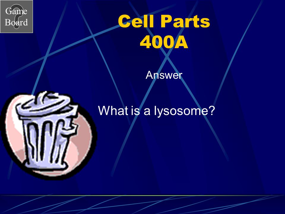 Game Board Cell Parts 400 This organelle digests food and old cell parts. Answer