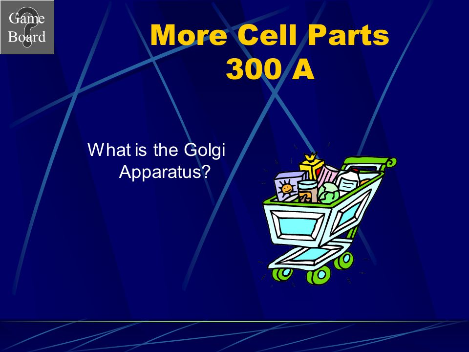 Game Board More Cell Parts 300 Package and transport goods to different parts of the cell Answer