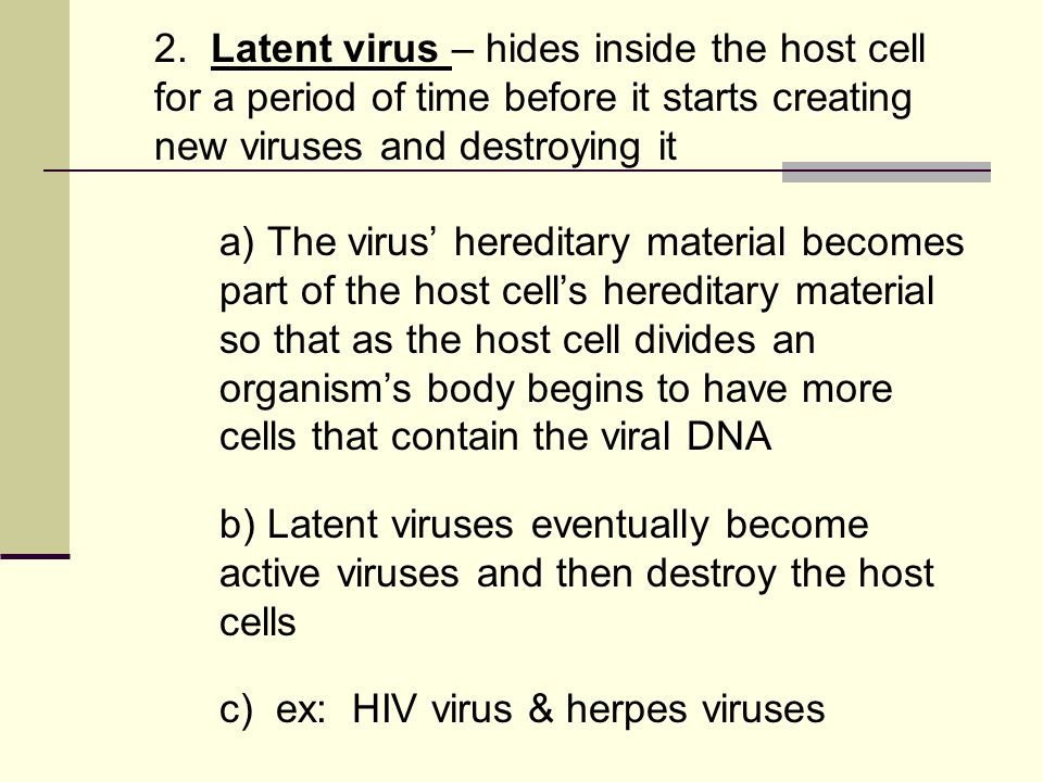 2. Latent virus – hides inside the host cell for a period of time before it starts creating new viruses and destroying it a) The virus' hereditary mat