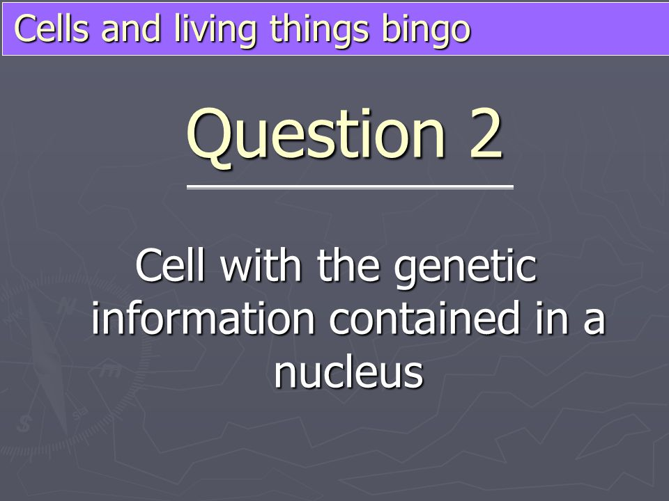 Cells and living things bingo Cell with the genetic information contained in a nucleus Question 2