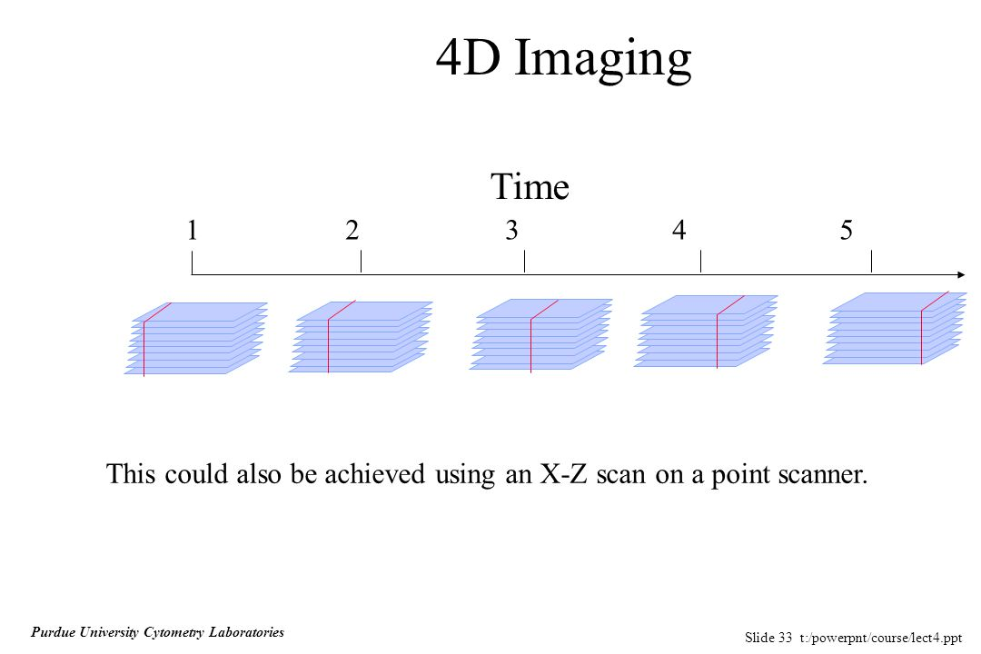 Slide 33 t:/powerpnt/course/lect4.ppt Purdue University Cytometry Laboratories 4D Imaging Time 1 2 3 4 5 This could also be achieved using an X-Z scan on a point scanner.