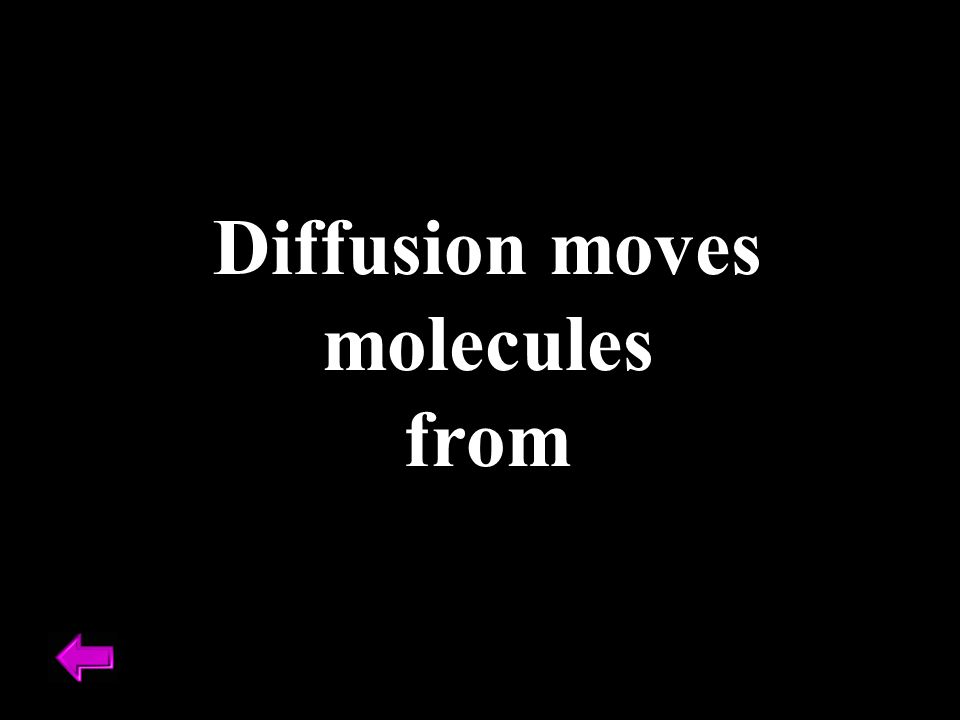 Diffusion moves molecules from