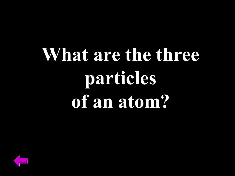 What are the three particles of an atom?