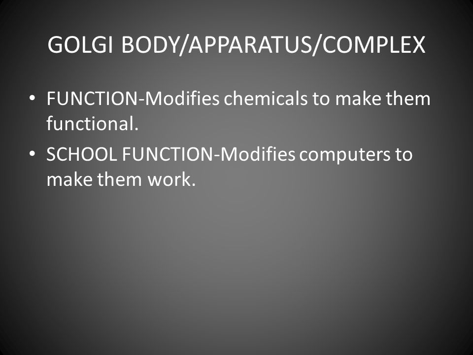 GOLGI BODY/APPARATUS/COMPLEX FUNCTION-Modifies chemicals to make them functional.