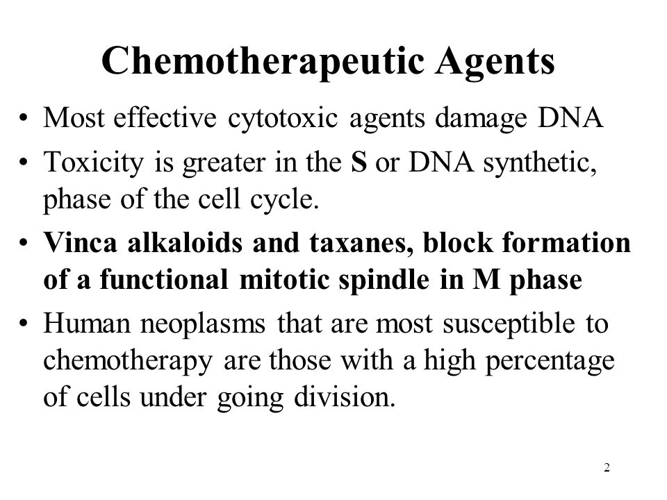 Chemotherapeutic Agents Most effective cytotoxic agents damage DNA Toxicity is greater in the S or DNA synthetic, phase of the cell cycle.