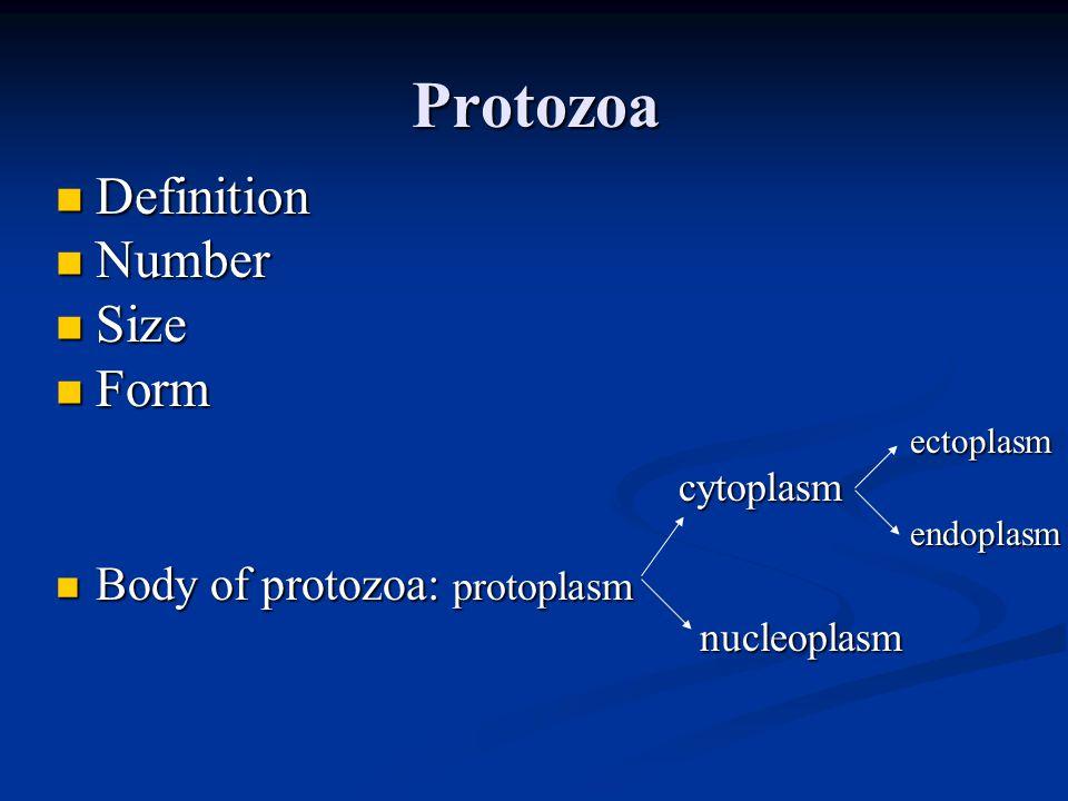 Protozoa Definition Definition Number Number Size Size Form Form ectoplasm ectoplasm cytoplasm cytoplasm endoplasm endoplasm Body of protozoa: protoplasm Body of protozoa: protoplasm nucleoplasm nucleoplasm
