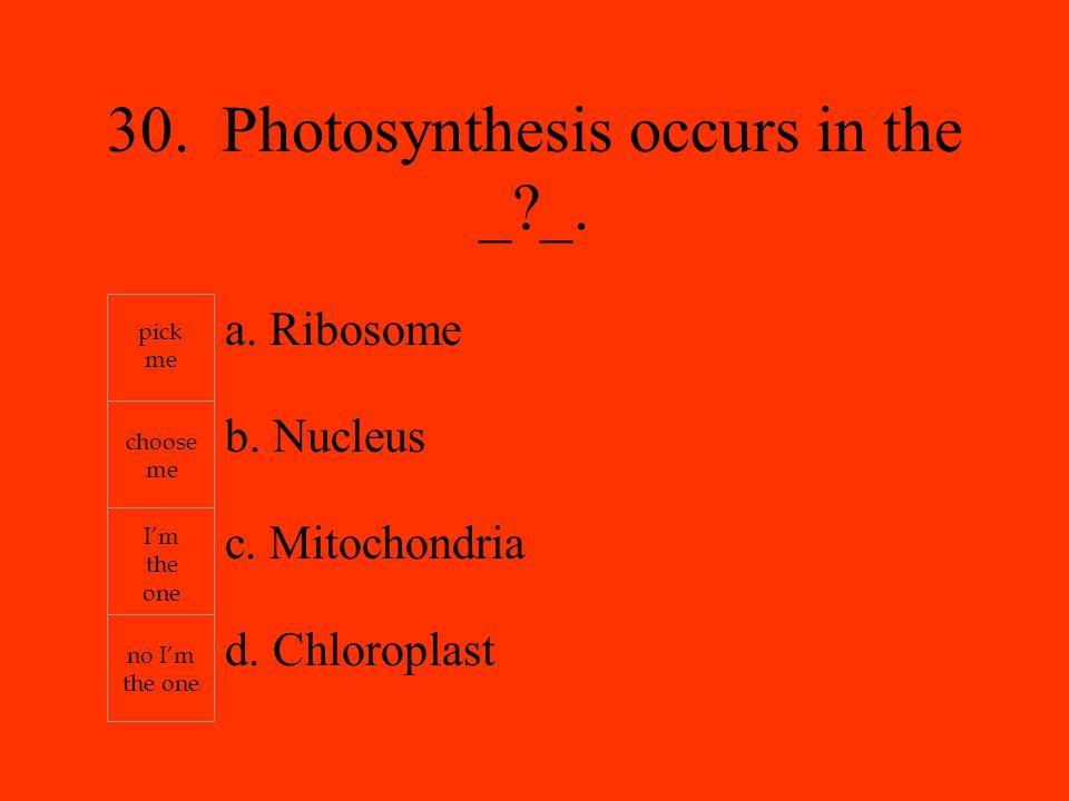 a. Ribosome b. Nucleus c. Mitochondria d.
