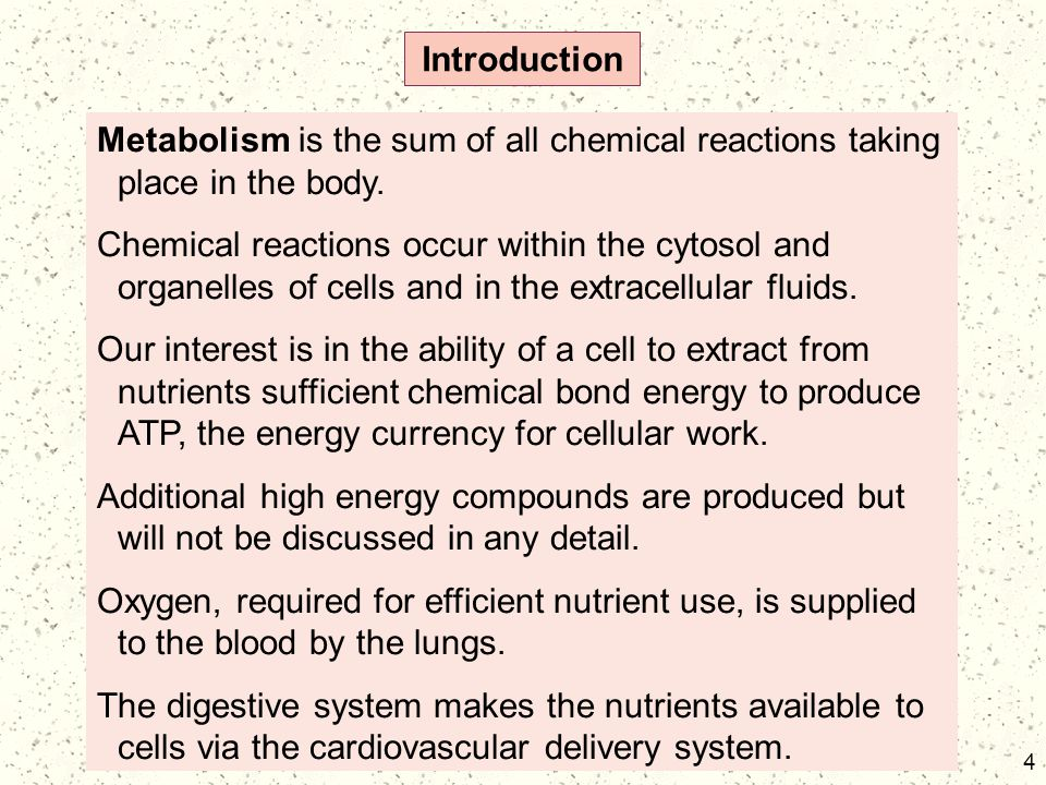 4 Introduction Metabolism is the sum of all chemical reactions taking place in the body. Chemical reactions occur within the cytosol and organelles of