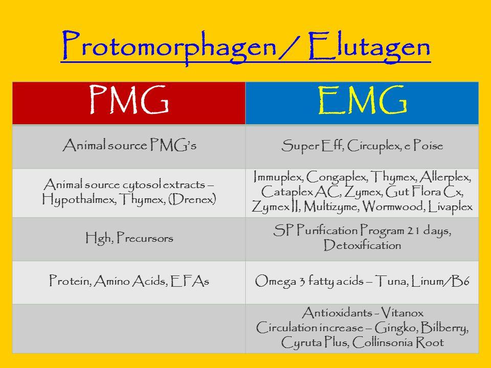 22 Protomorphagen / Elutagen PMGEMG Animal source PMG's Super Eff, Circuplex, e Poise Animal source cytosol extracts – Hypothalmex, Thymex, (Drenex) Immuplex, Congaplex, Thymex, Allerplex, Cataplex AC, Zymex, Gut Flora Cx, Zymex II, Multizyme, Wormwood, Livaplex Hgh, Precursors SP Purification Program 21 days, Detoxification Protein, Amino Acids, EFAsOmega 3 fatty acids – Tuna, Linum/B6 Antioxidants - Vitanox Circulation increase – Gingko, Bilberry, Cyruta Plus, Collinsonia Root