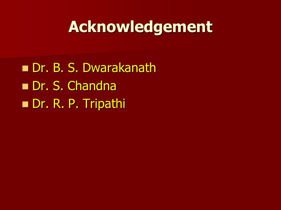 Acknowledgement Dr. B. S. Dwarakanath Dr. B. S.