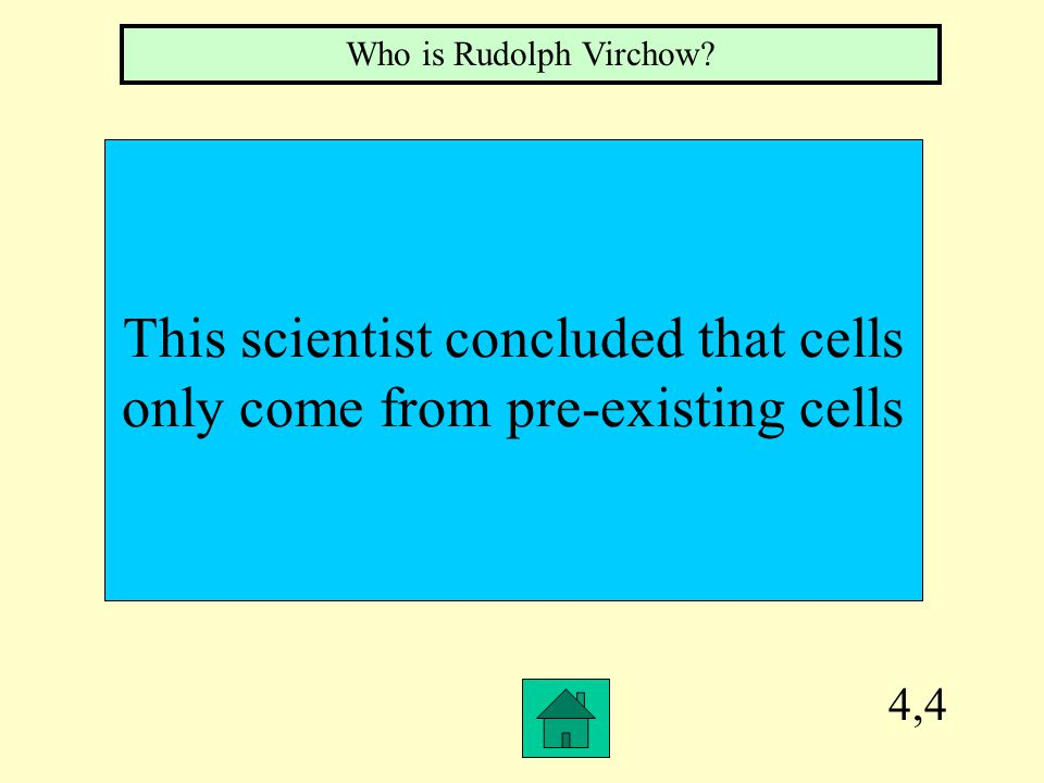 4,4 This scientist concluded that cells only come from pre-existing cells Who is Rudolph Virchow?